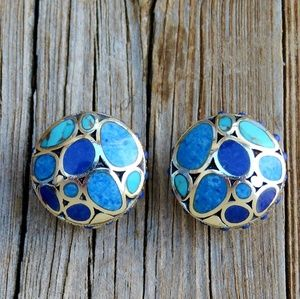 Vintage 925 Turquoise Lapis Omega Back Earrings